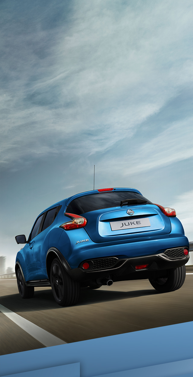 New Nissan Juke 3/4 rear driving shot on the highway