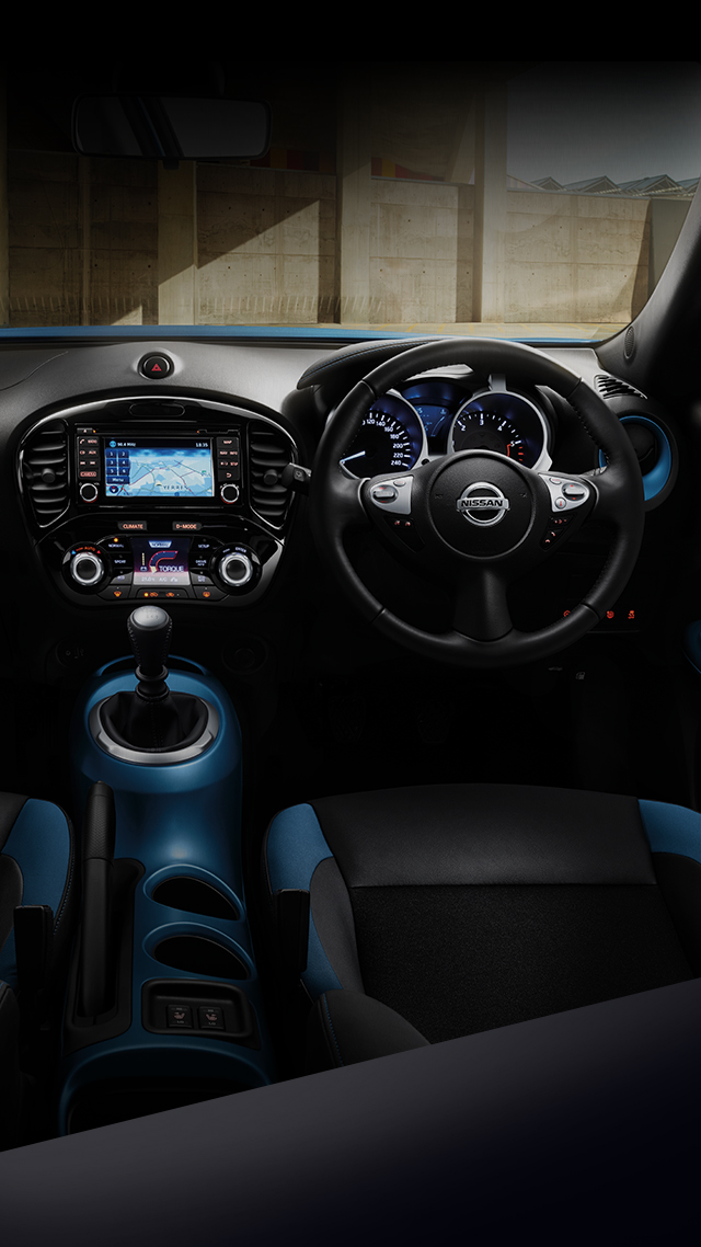 New Nissan Juke 3/4 interior view of the dashboard